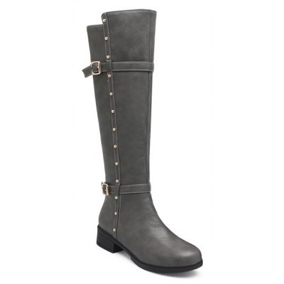 Studded Double Buckle Zipper Knee High Boots