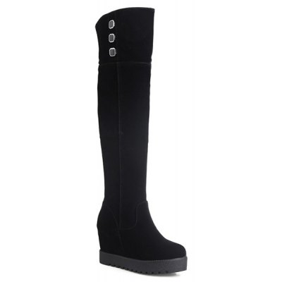 Hidden Wedge Flock Knee-High Boots