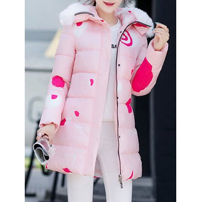 Hooded Fuzzy Print Padded Coat