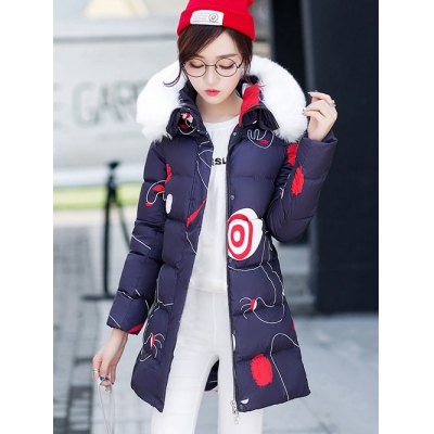 Hooded Fuzzy Printed Padded Coat