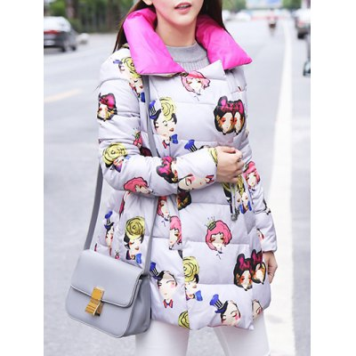Cartoon Print Padded Coat