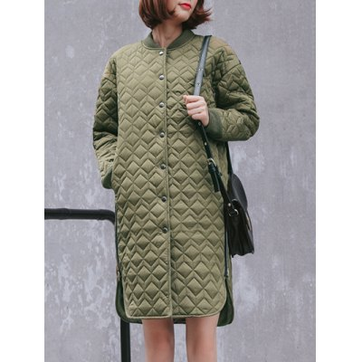 Buttoned Long Padded Coat