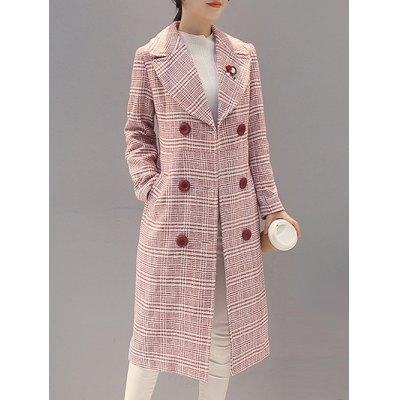 Double-Breasted Checked Vinatge Coat