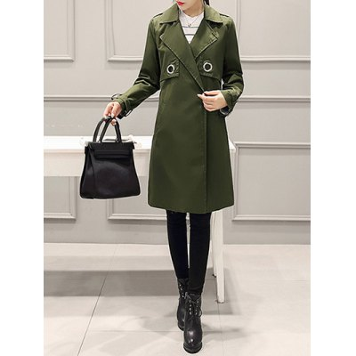 Buttonless Fitting Wrap Coat