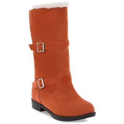 Double Buckles Suede Mid Calf Boots