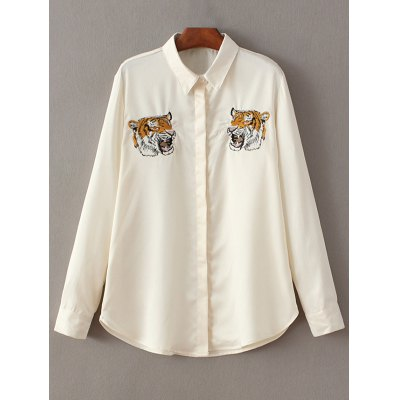 Tiger Embroidery Fitting Shirt