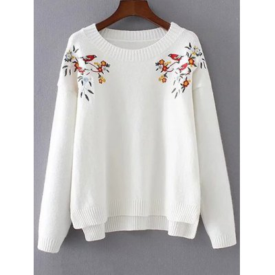 High-Low Embroidery Sweater