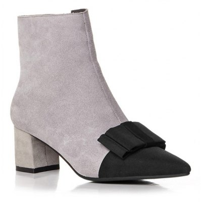 Bowknot Chunky Heel Pointed Toe Boots