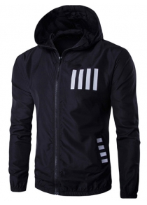 3 Printed Striped Hooded Lightweight Jacket