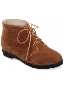 Tie Up Suede Flat Heel Ankle Boots
