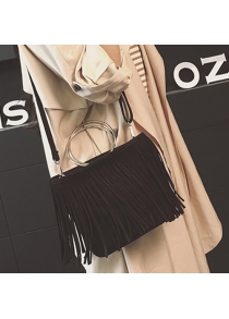 Vintage Faux Suede Metal Ring Fringe Bag