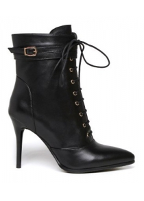 Pointed Toe Leather Lace-Up High Heel Boots