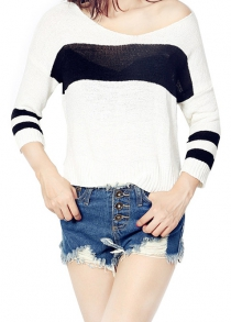 High Low Color Block Loose Sweater