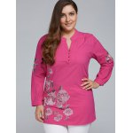 best Plus Size Floral Embroidered Short Linen Dress