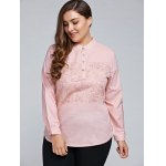 Plus Size Long Sleeve Embroidered Tulle Spliced Shirt photo