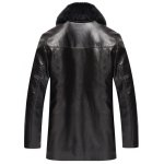 cheap Faux Fur Collar Pockets Embellished Single-Breasted PU-Leather Fleece Coat