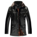 Faux Fur Collar Pockets Embellished Single-Breasted PU-Leather Fleece Coat