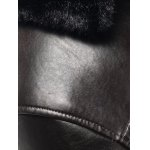 Faux Fur Collar Pockets Embellished Single-Breasted PU-Leather Fleece Coat for sale