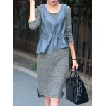 Long Sleeve Sheath Sweater Dress With Ruffles PU Tank Top