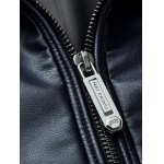 Embossed Stand Collar Zip Up PU Leather Jacket photo