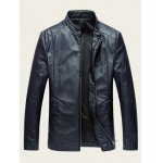 Embossed Stand Collar Zip Up PU Leather Jacket deal
