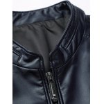 best Embossed Stand Collar Zip Up PU Leather Jacket
