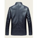 Embossed Stand Collar Zip Up PU Leather Jacket for sale