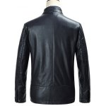 cheap Embossed Stand Collar Zip Up PU Leather Jacket