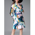cheap Printed Double Breasted Long Coat