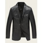 Notch Lapel Single Breasted Faux Leather Blazer deal