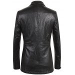 cheap Notch Lapel Single Breasted Faux Leather Blazer