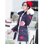 cheap Hooded Fuzzy Printed Padded Coat