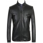 Ribbed Zippered Stand Collar PU Leather Jacket