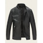 Ribbed Zippered Stand Collar PU Leather Jacket deal