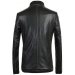 cheap Ribbed Zippered Stand Collar PU Leather Jacket