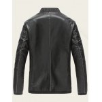 Ribbed Zippered Stand Collar PU Leather Jacket for sale