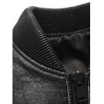 best Ribbed Zippered Stand Collar PU Leather Jacket