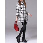 cheap Checked Double-Breasted Woolen Coat