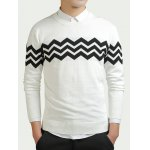 Color Block Wave Striped Long Sleeve Sweater