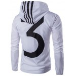cheap 3 Prined Striped Hooded Lightweight Jacket