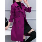 cheap Double-Breasted Belted Trench Coat with Pocket