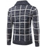 cheap Turn-Down Collar Single-Breasted Checked Cardigan
