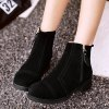cheap Stitching Suede Side Zip Short Boots