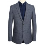 Notch Lapel Sleeve Buttons Single Breasted Texture Blazer