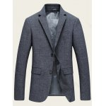 Notch Lapel Sleeve Buttons Single Breasted Texture Blazer deal