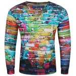 3D Doodles Wall Print Long Sleeve Crew Neck Sweatshirt