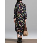Longline Floral Print Textured Coat for sale