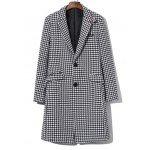 Single Breasted Houndstooth Wool Blend Coat