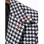 cheap Single Breasted Houndstooth Wool Blend Coat
