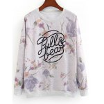 Letter and Floral Loose Sweatshirt